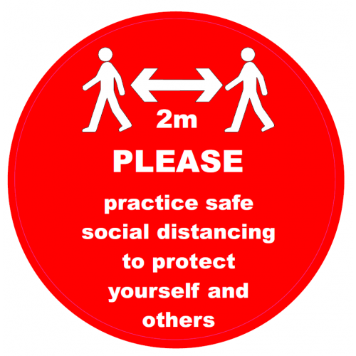 COVID10 - Social Distancing 2m Red - 300mm x300mm - Self Adhesive - FLOOR STICKER