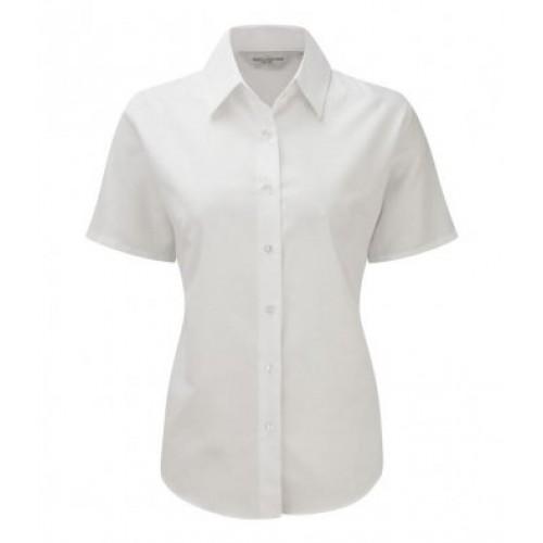 933F - Ladies S/s Oxford Shirt   WHITE