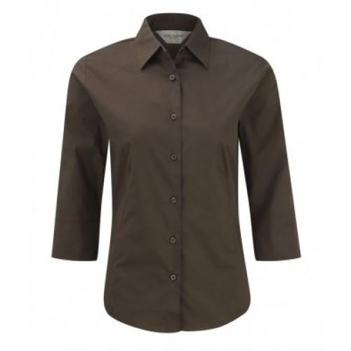 946F - Ladies 3/4 Sl Easy Care Shirt | CHOCOLATE