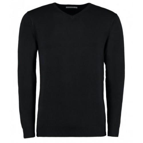 KK352 - Kustom Kit Mens Arundel V Neck L/s Sweat   BLACK