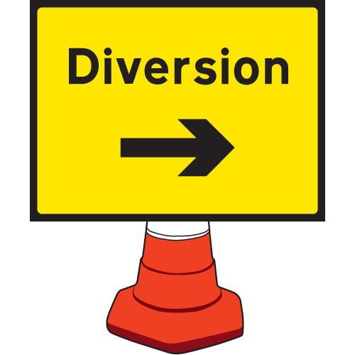 Diversion Right Cone Sign 600x450mm