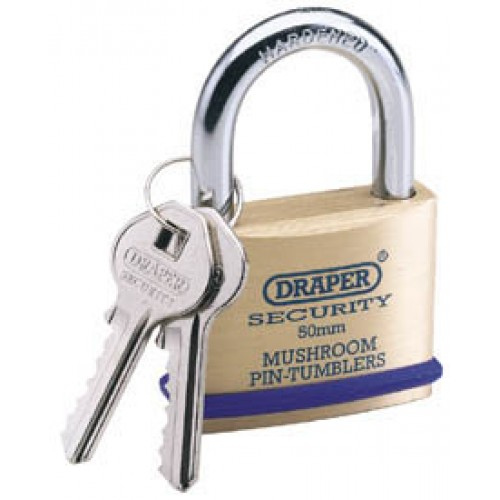 DRAPER 50mm Solid Brass Padlock and 2 Keys with Mushroom Pin Tumblers Hardened Steel Shackle and Bumper