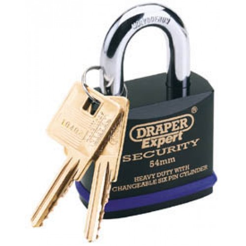 DRAPER Expert 54mm Heavy Duty Padlock and 2 Keys with Super Tough Molybdenum Steel Shackle
