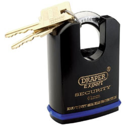 DRAPER Expert 61mm Heavy Duty Padlock and 2 Keys with Shrouded Shackle