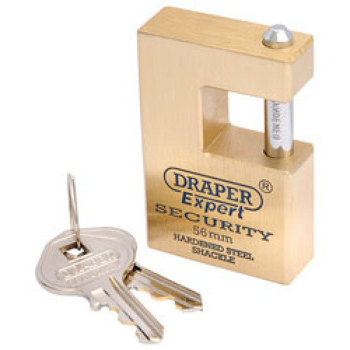 DRAPER Expert 56mm Quality Close Shackle Solid Brass Padlock and 2 Keys with Hardened Steel Shackle