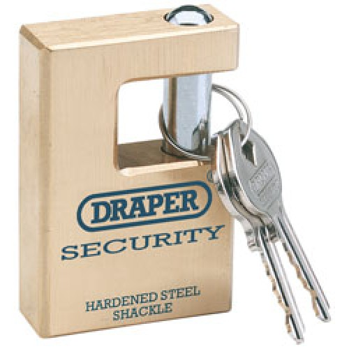 DRAPER Expert 76mm Quality Close Shackle Solid Brass Padlock and 2 Keys with Hardened Steel Shackle