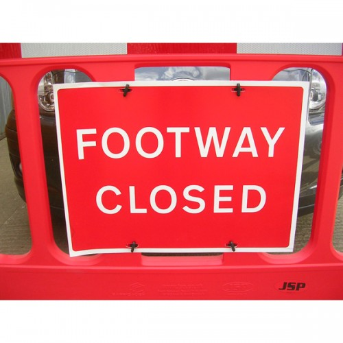 HBB190 - Footway Closed Barrier Sign Pack Of 10